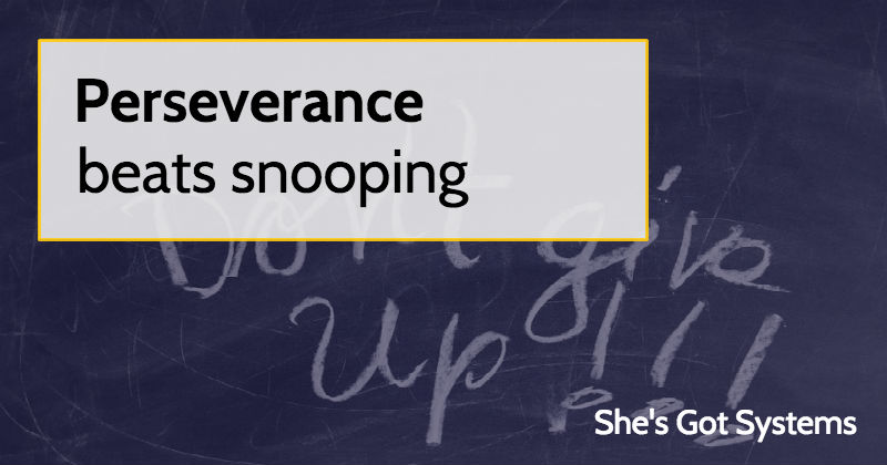 Perseverance beats snooping (but snooping is more fun)