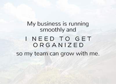 My business is running smoothly and I NEED TO GET ORGANIZED so my team can grow with me.