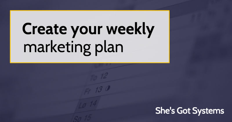 Create Your Weekly Marketing Plan  SheS Got Systems